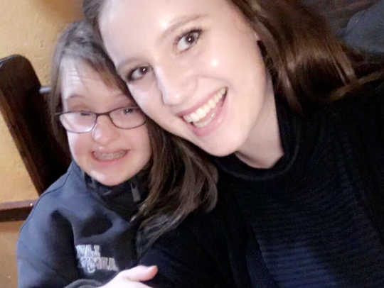 Natalie and Olivia Campbell pose for a selfie.