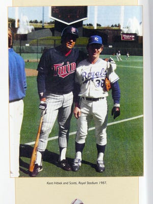 Scotti Madison (right), while playing for Kansas Royals, poses in 1987 with former Minnesota Twins star Kent Hrbek