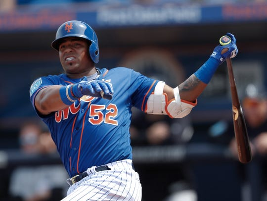 New York Mets left fielder Yoenis Cespedes in a spring