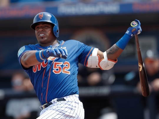 New York Mets left fielder Yoenis Cespedes in a spring training game March 7, 2018.