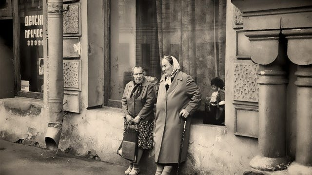 Two women in Moscow, 1987