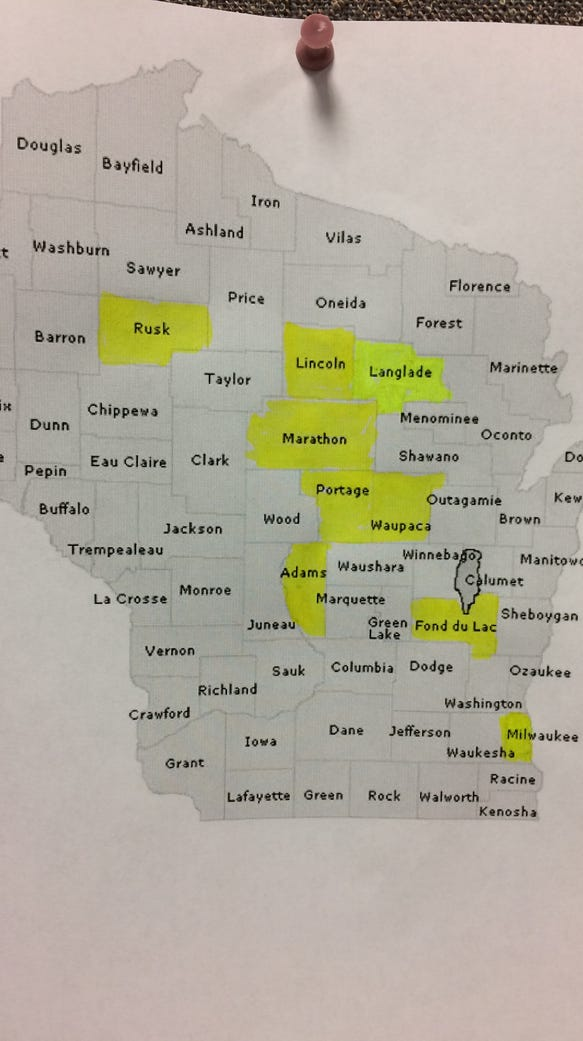 There's work to be done. The highlighted counties are