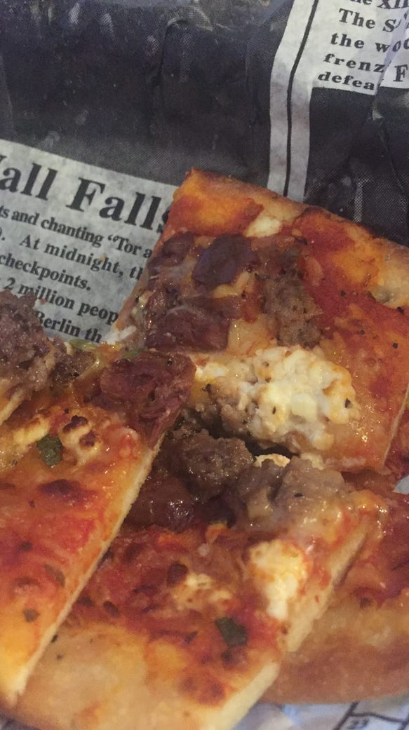 Lamb flatbread from K restaurant goes well with a local