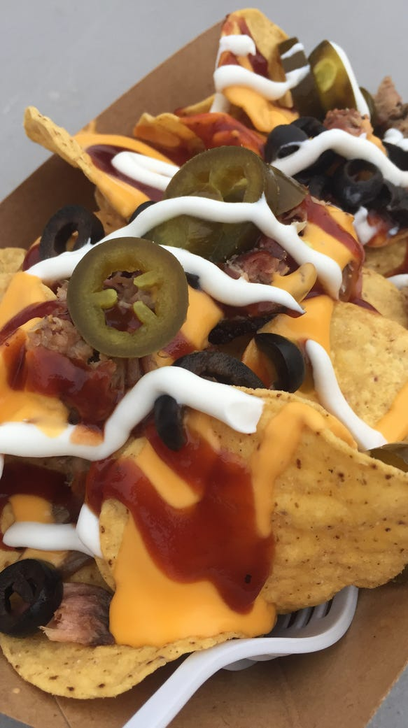 Snortz BBQ food truck serves  barbecue nachos.