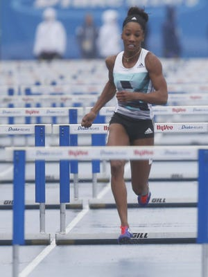 Kendra Harrison competes in the 100 meter hurtles in the Rio Olympics preview at the Drake Relays on Saturday, April 30, 2016, in Des Moines.