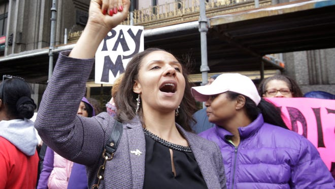 Detroit City Councillwoman Mary Sheffield comes out in support of Detroit Public School teachers during a protest in Detroit in front of the Fisher Building Monday May 2, 2016 to protest the threat to their pay.