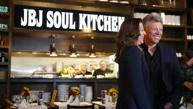 Jon Bon Jovi and wife Dorothea Bongiovi during the grand opening of the newest JBJ Soul Kitchen in Toms River on  Tuesday, May 10, 2016.