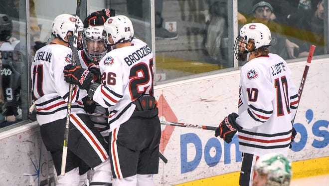 St. Cloud State players celebrate their first goal of the game during the second period Saturday, Dec. 9, at the Herb Brooks National Hockey Center in St. Cloud.