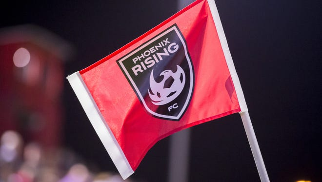 A flag flies at Phoenix Rising FC Soccer Complex on Saturday, March 24, 2018 in Tempe, Arizona.