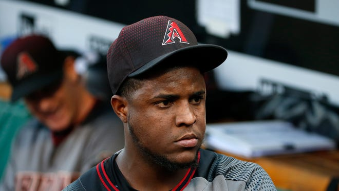 Arizona Diamondbacks starting pitcher Rubby De La Rosa walks in the dugout before a baseball game against the Pittsburgh Pirates in Pittsburgh, Wednesday, May 25, 2016. The Pirates won 5-4.