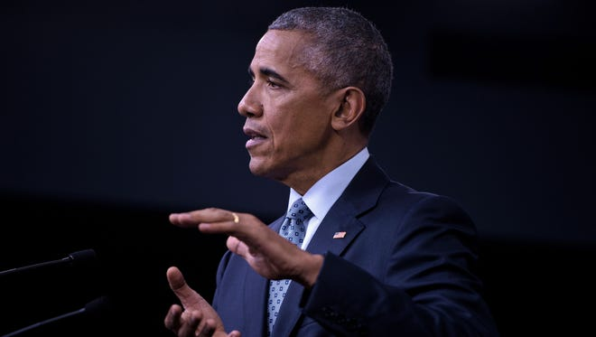 President Obama speaks during a press conference at the Pentagon Thursday.