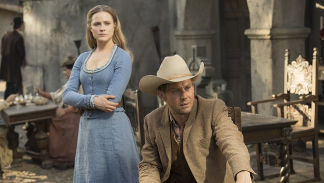 Evan Rachel Wood, left, and Jimmi Simpson star in HBO's 'Westworld,' which has been renewed for Season 2.