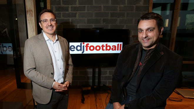 Tony DeFeo, right, is president of EdjSports, and Frank Frigo is co-founder of EdjAnalytics.  Their firm uses data to assist teams in analyzing and designing game plans.Nov. 28, 2017