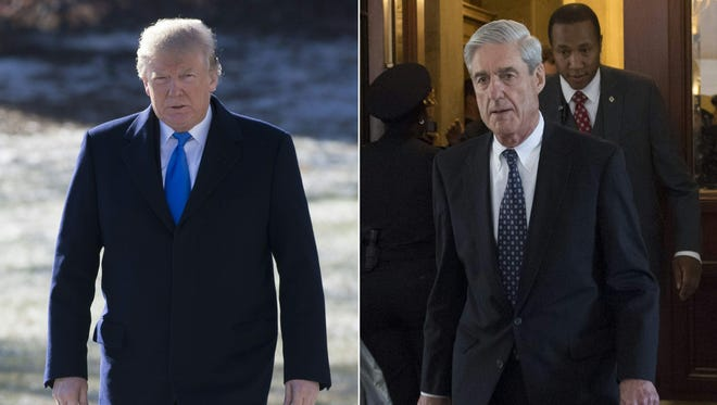 This combination of pictures created on January 24, 2018 shows President Trump on the South Lawn of the White House in Washington, D.C., January 5, 2018, and former FBI Director Robert Mueller, special counsel on the Russian investigation, at the U.S. Capitol in Washington, D.C. on June 21, 2017.