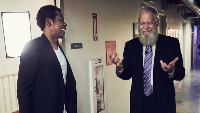 """Jay-Z and David Letterman chat backstage. Their episode of """"My Next Guest Needs No Introduction"""" arrives at Netflix April 6."""