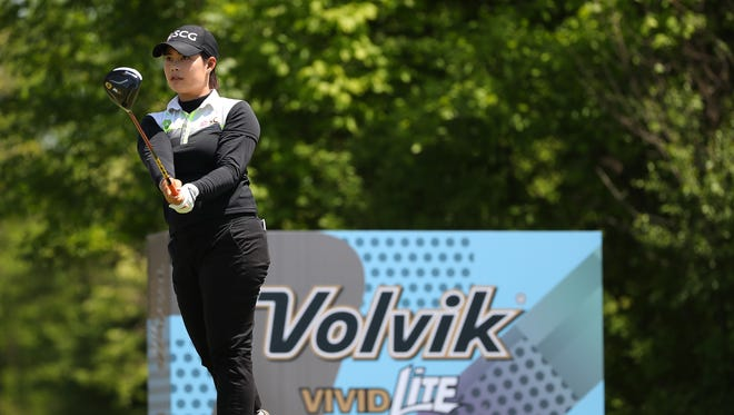 Moriya Jutanugarn of Thailand watches her tee shot on the ninth hole during the first round of the LPGA Volvik Championship on Thursday, May 24, 2018, at Travis Pointe Country Club in Ann Arbor.