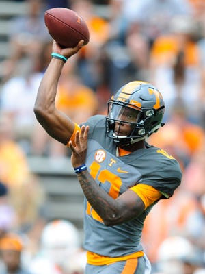 Tennessee quarterback Sheriron Jones (13) passes the ball during the Orange and White Game at Neyland Stadium in Knoxville on Saturday, April 22, 2017.