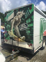 A soda truck for the volunteers was parked next to