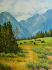 """Grand Teton Range,"" oil by Cynthia Tumpach, part of"