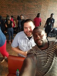 Ben Compton, left, with comedian Kevin Hart