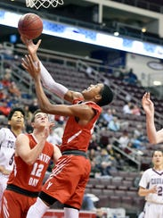 York Country Day's Jalen Gorham shoots against Lancaster