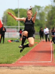 Plymouth's Paige Sanders soars to a victory in the