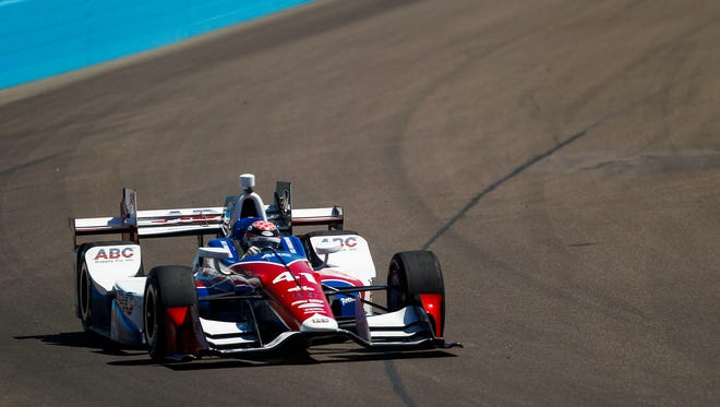 Driver Jack Hawksworth takes a turn during the Verizon IndyCar Series practice race on Friday, April 1, 2016, at Phoenix International Raceway in Avondale, Ariz.