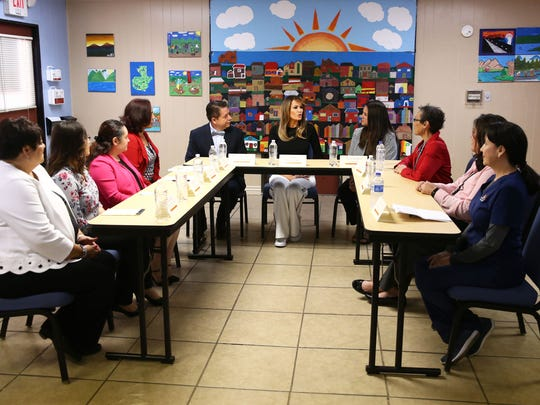 First lady Melania Trump visits with officials at Southwest Key, an immigrant holding facility, on June 28, 2018, in Phoenix.