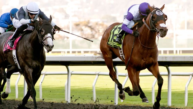 Frank Conversation topped Tusk, left, to win Saturday's El Camino Real Derby at Golden Gate Fields.