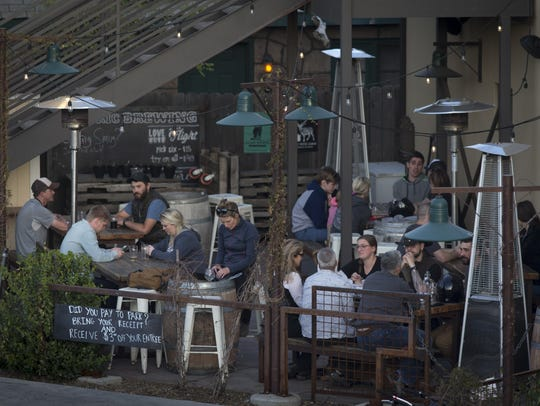 The Historic Barrel + Bottle House patio, April 10,