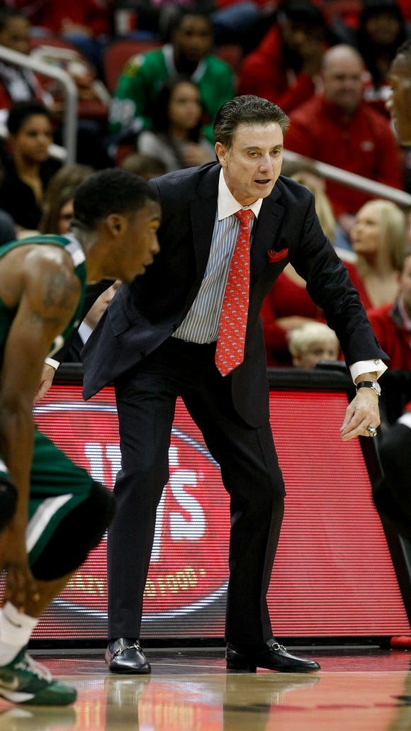U of L head coach Rick Pitino watched his team play