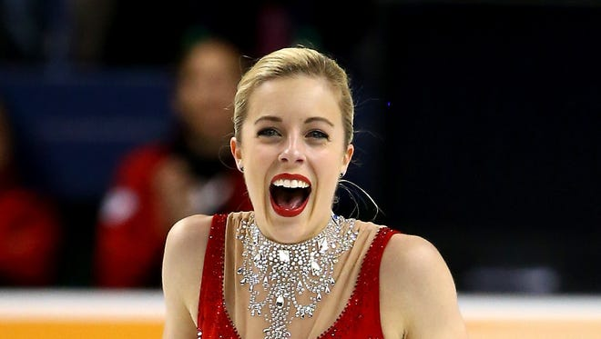 Ashley Wagner reacts after the championship free skate program competition during Day 3 of the 2015 Prudential U.S. Figure Skating Championships at Greensboro Coliseum.
