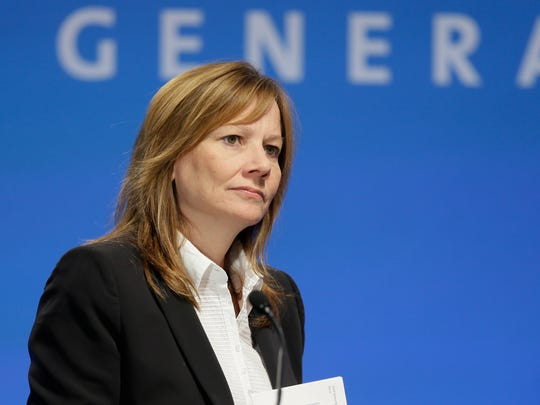 General Motors CEO Mary Barra addresses the Global Business Conference for investors in Milford, Mich., Wednesday, Oct. 1, 2014.