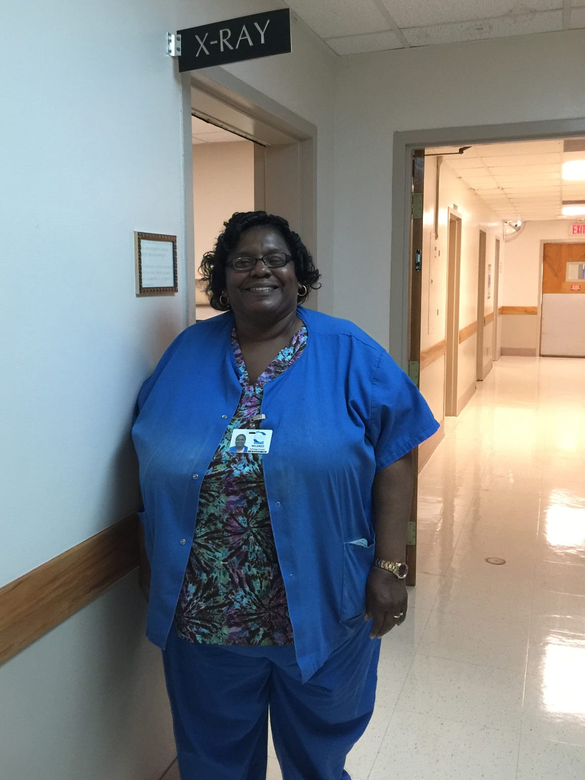 Mildred Battle, Calhoun Liberty Hospital's radiology director, outside the facility's X-ray room.