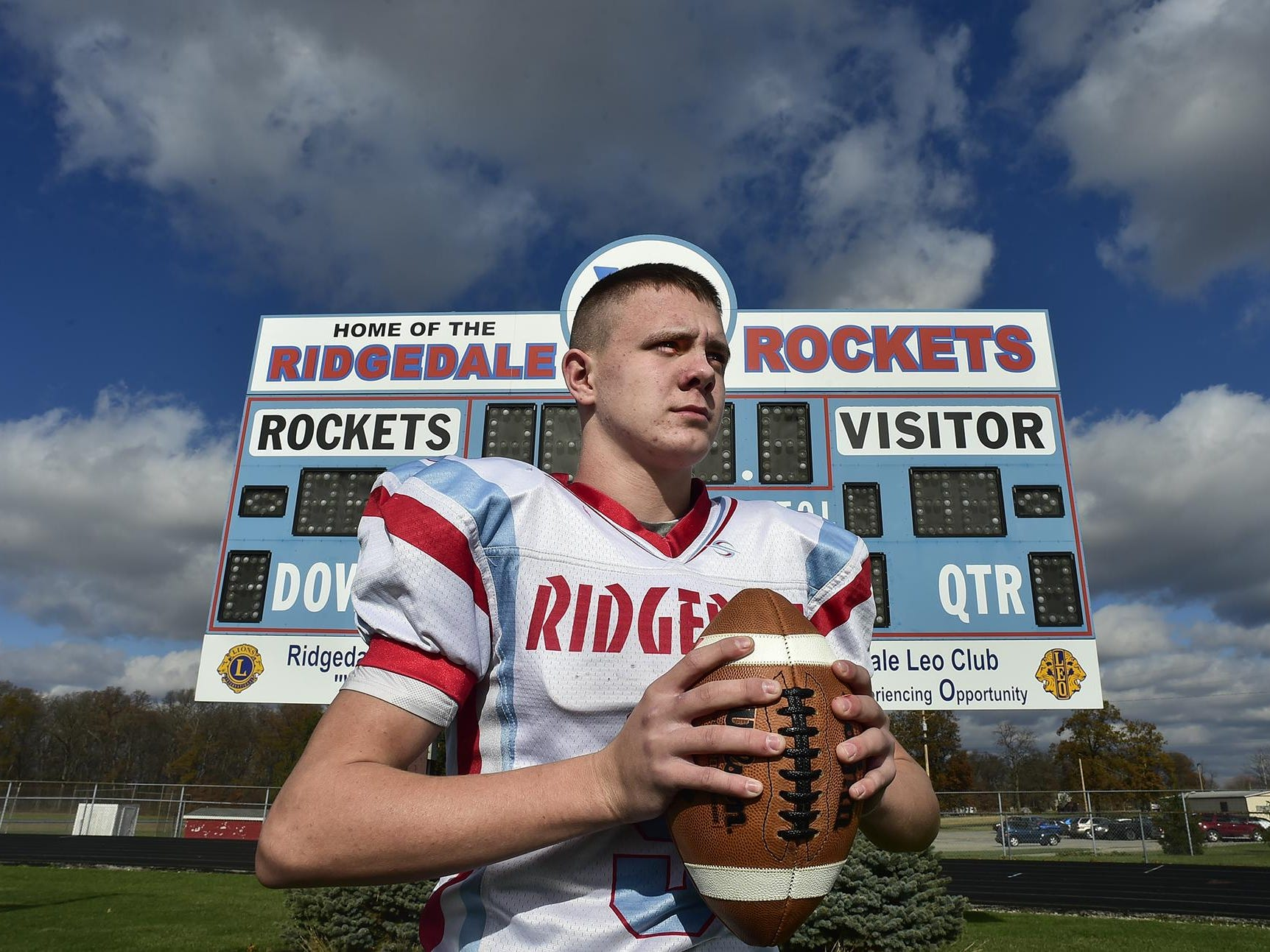 Male athlete of the month Tyler Wren, from Ridgedale, poses for a portrait on the Ridgedale football field.