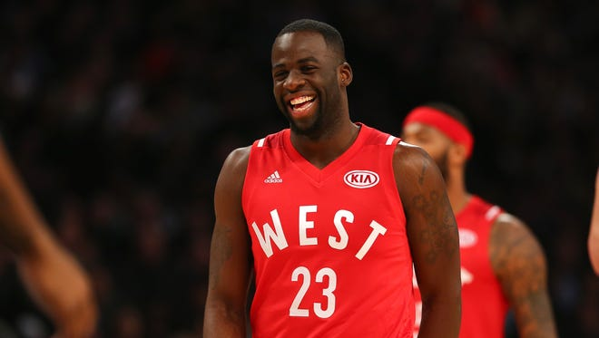 Draymond Green #23 of the Golden State Warriors and the Western Conference reacts in the first half against the Eastern Conference during the NBA All-Star Game 2016 at the Air Canada Centre on February 14, 2016 in Toronto, Ontario.