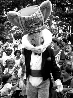 1990: Bugs Bunny is greeted by fans during a parade at Great Adventure.