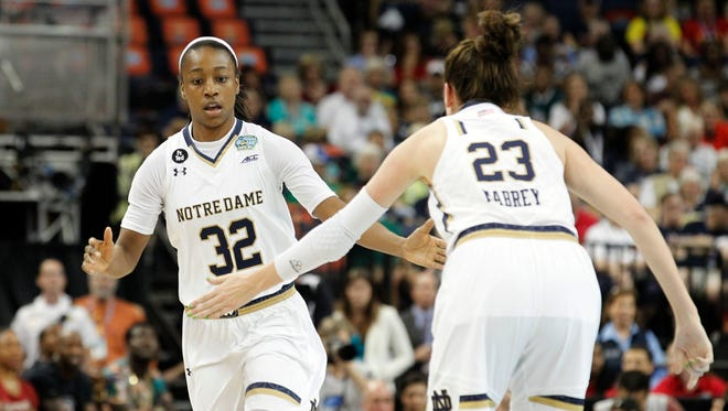 Jewell Loyd reacts with guard Michaela Mabrey during the first half  against South Carolina in the NCAA tournament.