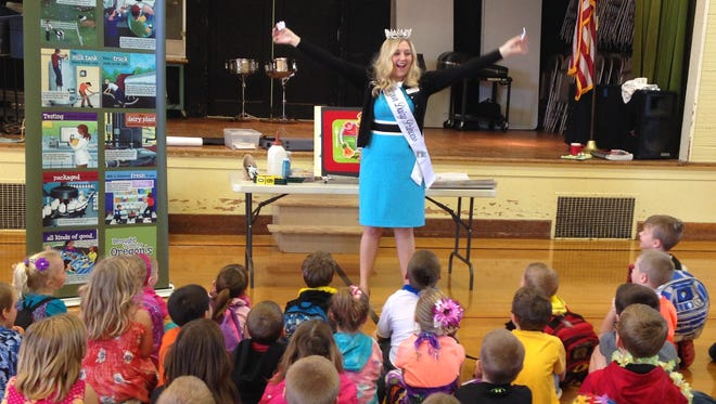 Emma Miller, Oregon Dairy Princess Ambassador, has visited 81 elementary schools and made presentations to more than 15,000 children during her reign.