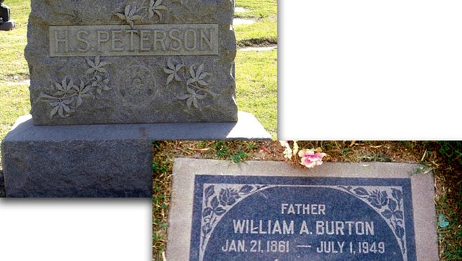 Headstones in the Mesa Cemetery mark the resting places of fellow Mesa lawmen Hyrum S. Peterson and William A. Burton, adversaries once embroiled in court over a 1909 dispute involving Peterson's alleged excessive use of force.