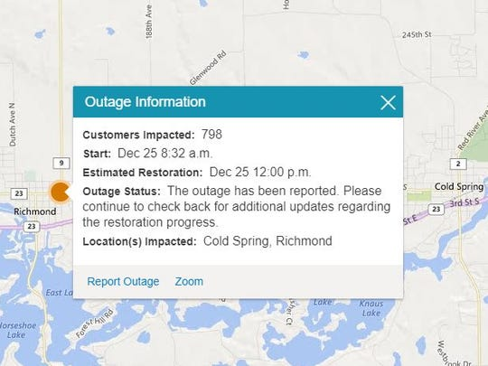 Parts of Richmond have been without power since about 8:30 a.m. Monday. Temperatures have fallen to minus nine on Christmas day and the National Weather Service has a wind chill advisory for the area.