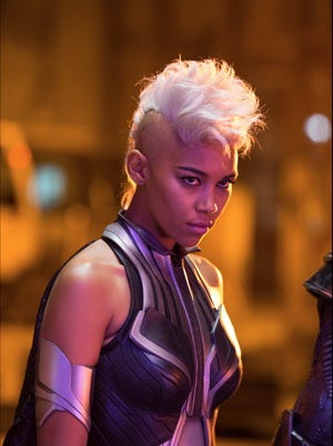 """Alexandra Shipp plays Storm in the newest X-Men film,  """"X-Men: Apocalypse."""" Halle Berry played Storm in previous movies in the franchise."""
