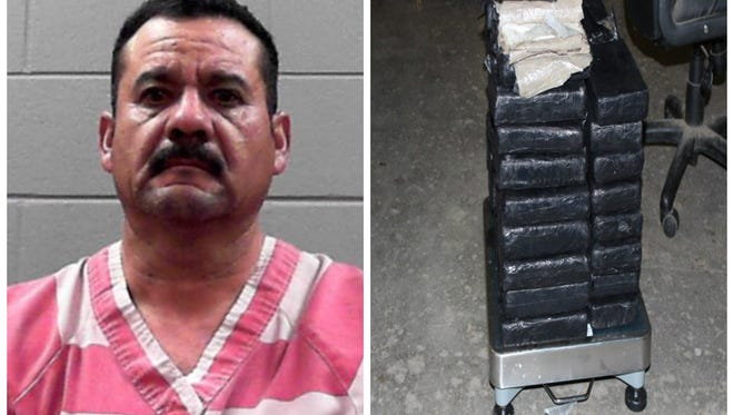 Ernesto Reyes-Armendariz and the 125 lbs of alleged cocaine recovered in his Winnebago Thursday morning.
