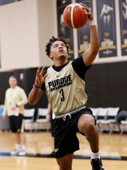Sophomore Carsen Edwards with a layup during Purdue