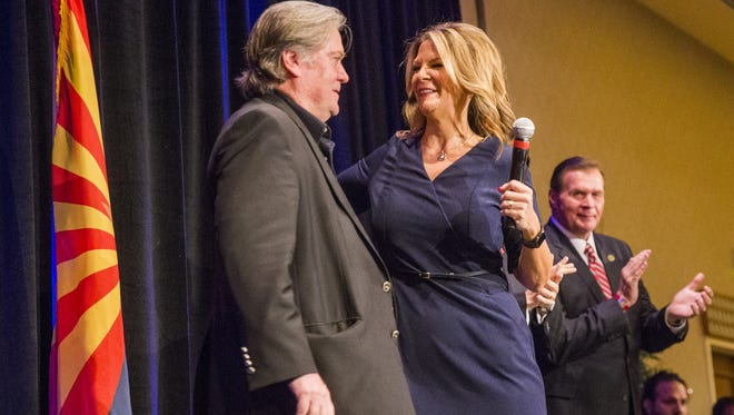 Former White House chief strategist Steve Bannon introduces Kelli Ward at her U.S. Senate campaign kickoff event in Scottsdale on Oct. 17, 2017.