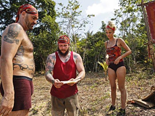 "Scot Pollard, left, is part of the Brawn Tribe on season 32 of ""Survivor."""