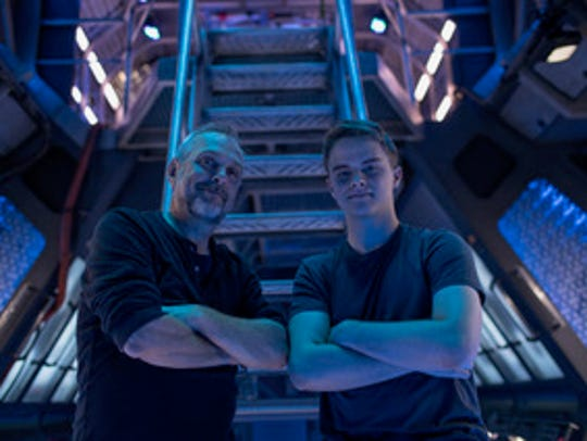 """Caleb Wild with Jeff Woolnough on the set of """"The Expanse."""""""