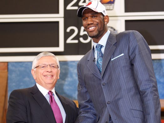 Oden shakes hands with commissioner David Stern after being selected first overall in the 2007 NBA draft.
