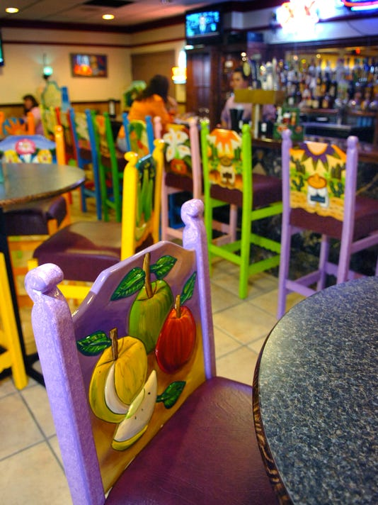 Guadalajara's handmade chairs, exported from Mexico, are an attraction of the restaurant.
