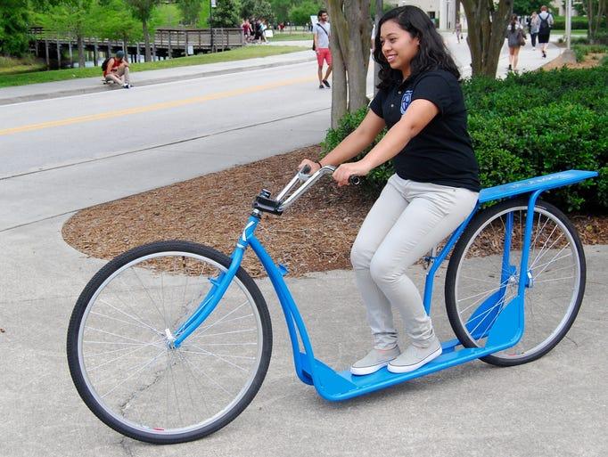 Acceleration Academy student Sarahi Ramos tests out
